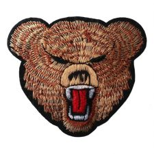 ANGRY BEAR HEAD MOTIF IRON ON EMBROIDERED PATCH APPLIQUE